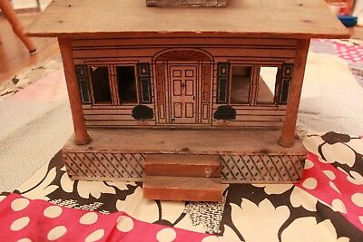 Antique Vintage Converse Dollhouse Wooden with Litho Windows Door and Shrubs