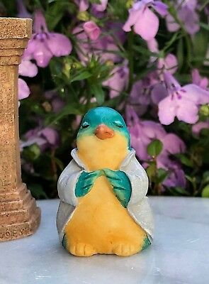 "Miniature FAIRY GARDEN ~ Tiny 1¼"" ZEN Buddha Animal Anjali Mudra BLUE BIRD"
