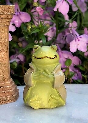 "Miniature FAIRY GARDEN ~ Tiny 1¼"" ZEN Buddha Animal Anjali Mudra FROG"