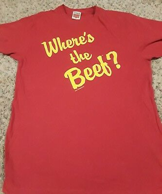 Where's The Beef Vintage T Shirt Red Size Large