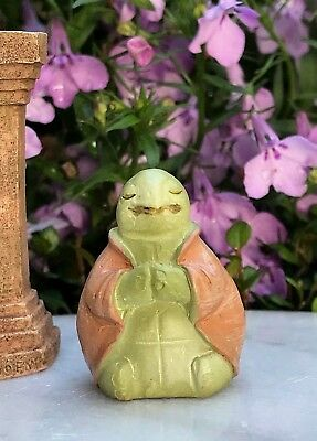 "Miniature FAIRY GARDEN ~ Tiny 1¼"" ZEN Buddha Animal Anjali Mudra TURTLE"