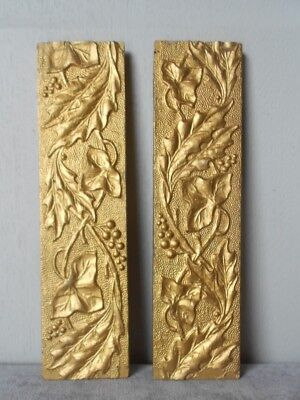 2 French Vintage gilded wood FLORAL Ornaments Plaques