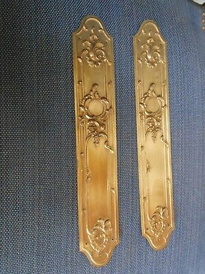 Pair FRENCH Vintage Solid Brass CHATEAU door PUSH FINGER Plates LOUIS XV style