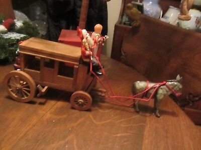 Vintage Japan Santa Pulling a WoodenWagon driven by German Donkey