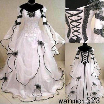 Black&White Gothic Medieval Wedding Ball Gown Victorian Country Bridal Dresses