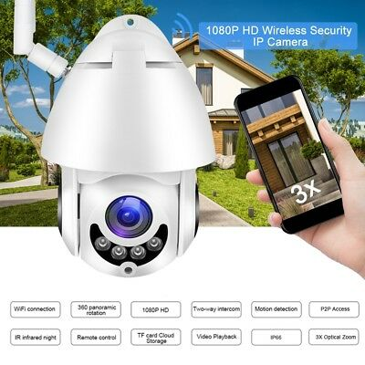 Wireless WIFI Outdoor HD 1080P Pan Tilt IP Camera Security 5X Zoom Night Vision