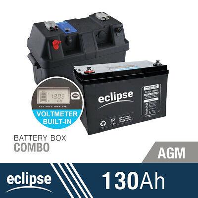 130AH 12V Eclipse Deep Cycle AGM Powered Battery Box Combo