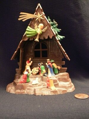 Vtg MidCentury  Plastic Christmas Creche With Figures  signed Blume Miniature