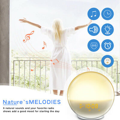 Wake-Up Light Sunrise Wifi APP Control Alarm Clock Bed FM Radio Music Night Lamp