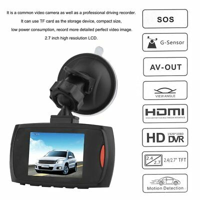 "2.4"" Autokamera Recorder KFZ DVR Überwachung Dashcam HD 1080p Video G-Sensor"
