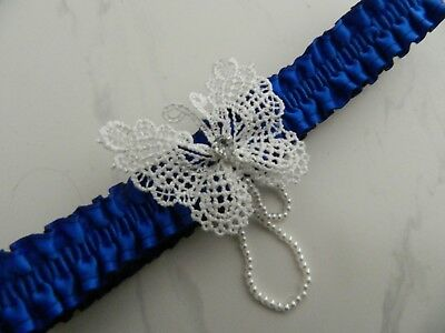 Wedding Garter Royal Blue- Lace Butterfly With Diamante Teardrop & Pearl Strands