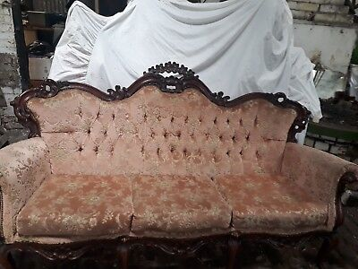 Beautiful French Rococo pale pink Three Piece suite, three seater sofa.