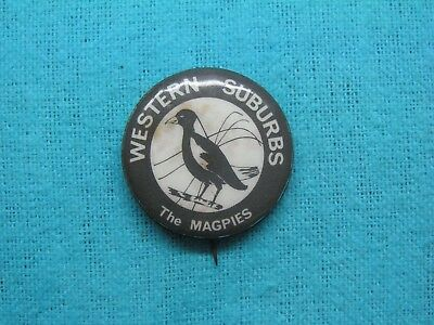 Western Suburbs Magpies Rugby League Football Club Tin Back Badge