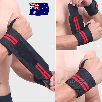 Weight Lifting Gym Muscle Training Wrist Support Straps Wraps Bodybuilding AU