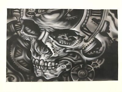 Airbrushed Skull And Clock