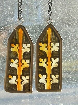 Architectural Salvage Stained Glass Mini-Pair, 1890's Gothic Finial W/ Crockets