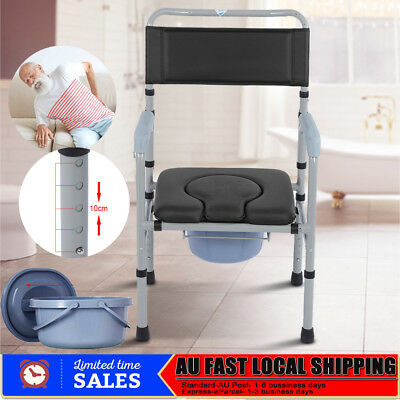 Adjustable Commode Chair Toilet Seat +Bucket Disability Old Elder Mobile Commode