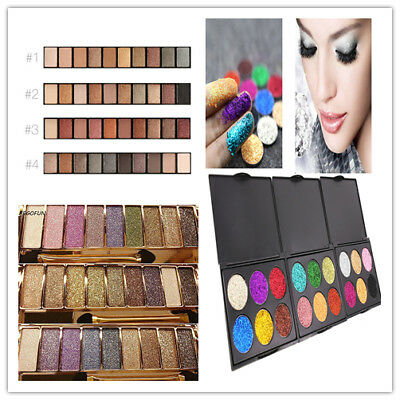 9Colors Shimmer/Glitter Eyeshadow Eye Shadow Palette &Makeup Cosmetic Brush Set