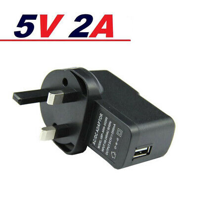 Wall 5V 2A 3 Pin UK Plug Charger AC to DC Converter Power Adaptor with USB Ports