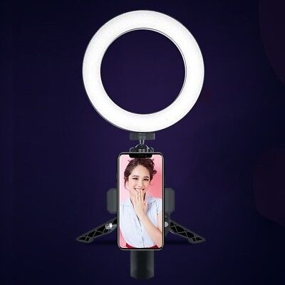 "6"" Phone LED Ring Light Dimmable Live Streaming Selfie Photography +Table Tripod"