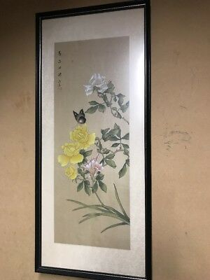 Vintage Chinese Silk Artwork Floral Signed Original Butterfly Antique Asia Asian