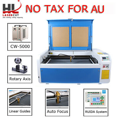 RECI 100W Laser Cutter Engraving Machine&CW5000 Chiller&200MM Lift&Linear Guide