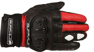 Buffalo Ostro Black Red Short Street Summer Armoured Motorcycle Gloves