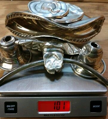 Mixed lot of Sterling silver. Candle sticks, candy dish. Scrap/collect/refine.
