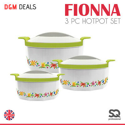 3 Pc Serving Dish Hot Pot Casserole Set Food Warmer Insulated Steel Fionna Green