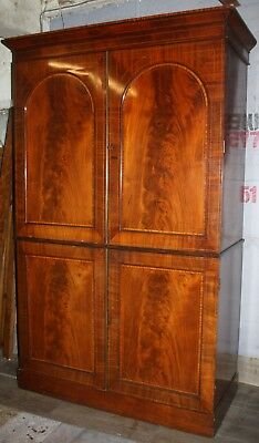 Excellent Victorian inlaid flame mahogany press wardrobe cupboard Sheraton