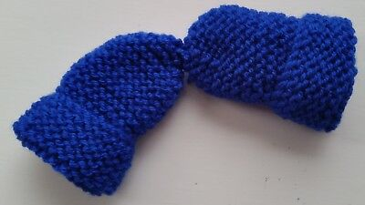 Baby's Hand Knitted Mittens, Royal Blue, Acrylic Wool, 0-3 Months New