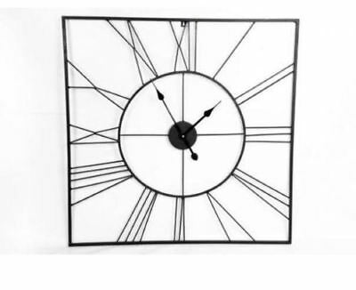 Large Black Square Roman Numeral Wall Clock 80cm NEW (X)