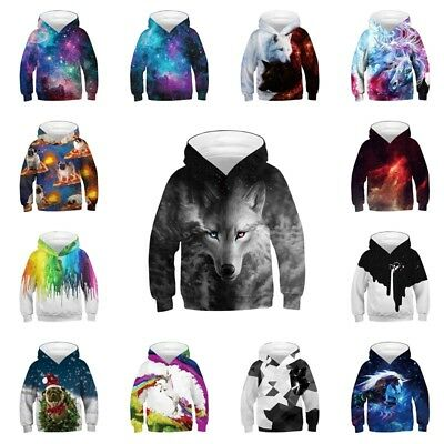 Kids Boys/Girls Wolf Galaxy 3D Print Hoodie Sweatshirt Pullover Jumper Top Coat