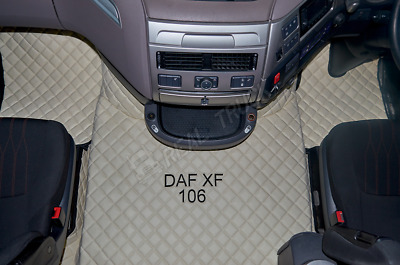 Daf Xf 106 Automatic Truck Eco Leather Floor Mats Set - Beige - After 67 Plate