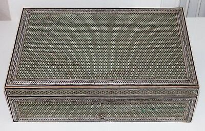 V.Large Antique 19th Century Micro Mosaic Sadeli Anglo Indian Sewing Box /Casket