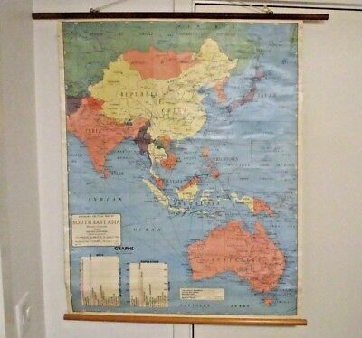 Vintage Robinson's school Hanging Map, Political Map Of South East Asia, Retro D