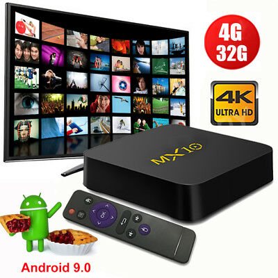 MX10 Android 9.0 Pie 4+32G Smart TV BOX Quad Core 4K Media Player MINIPC USB 3.0