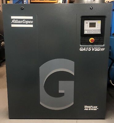 Atlas Copco GA15VSDFF Variable Speed Drive Rotary Screw Compressor With Dryer!