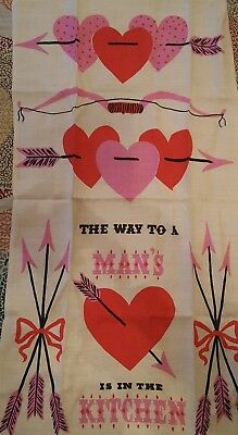 NWT Vintage Tammis Keefe MCM Linen Towel Way to Mans Heart Kitchen Never Used