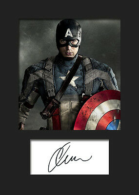CHRIS EVANS (CAPTAIN AMERICA) #2 A5 Signed Mounted Photo Print - FREE DELIVERY