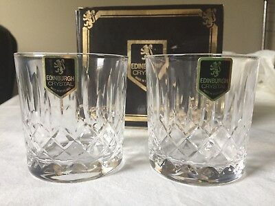 VINTAGE EDINBURGH CRYSTAL Two BOXED 'Appin' Fine Cut Crystal Whisky Glasses (b)