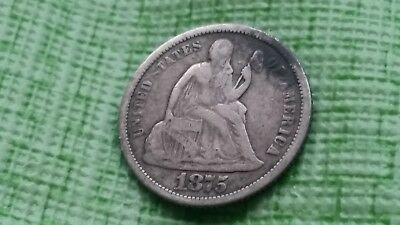 1875-S 10C Mintmark Below Liberty Seated Dime, full liberty Old US coin #J350
