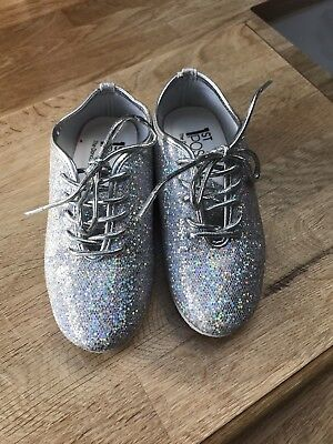 First Position. Silver Sparkle Jazz Shoes. Size 10 Kids.