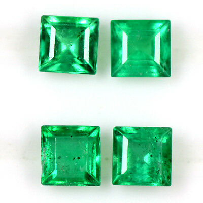 0.83 cts Superior Natural Mined Green Emerald Square Cut Lot Untreated Zambia