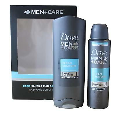 Dove Men Care Clean Comfort Gift Set - 250Ml Body Wash And 150Ml Spray Mens