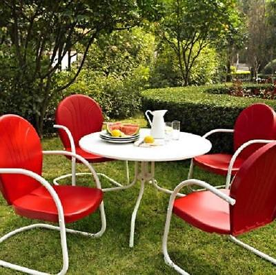 Red White OUTDOOR METAL RETRO 5 PIECE DINING TABLE & CHAIRS SET Patio Furniture