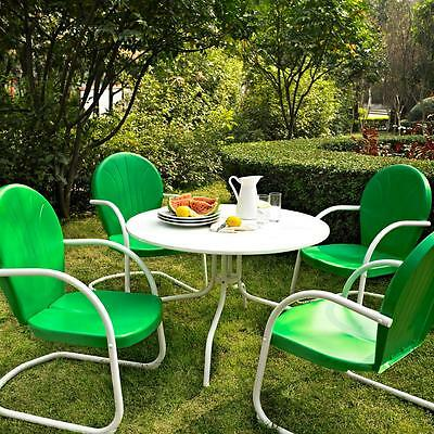 Green White OUTDOOR METAL RETRO 5 PIECE DINING TABLE CHAIRS SET Patio Furniture