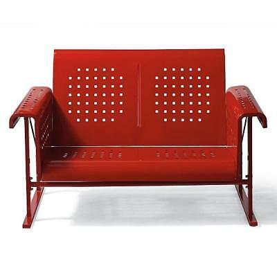 Vintage Collection Outdoor Patio Metal Glider Loveseat 2 Person Settee Red