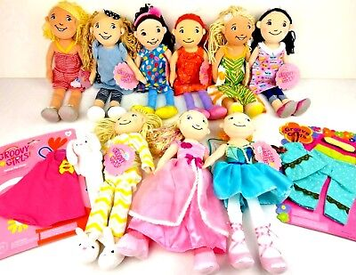 Manhattan Toy Co. GROOVY GIRLS Plush Doll Special Edition Lot of 9 + Accessories