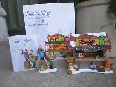 Dept 56 Snow Village Farmers Holiday Market Root Cellar Canned Goods & Accessory
